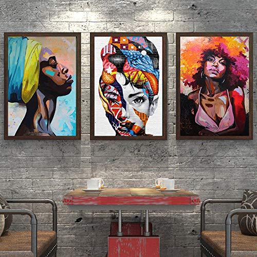 LIVEXH HD Hogar Grabados Decoracion 3 Pieza sobre Lienzo impresión artística Pintura Diseño Cuadro Moderno Pared Tejido Listo para Colgar Niño/Mujer Africana/Marco de Madera