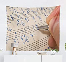 Aactwon Pen Music Sheet Wall Tapestry,Tapestry Wall Hanging Pen Music Sheet Musical Education Musician Wall Art for Bedroom Wall Decor Tablecloth Dorm Decor 60x50 Inches, Pen Music Sheet