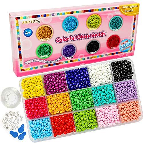 Glasperlen, 3 mm, gemischte Farben, Mini-Glasperlen, Pony-Perlen, Mini-Abstandhalter, 1,5 mm Loch für Schmuckherstellung, Armbandherstellung (15 Farben)
