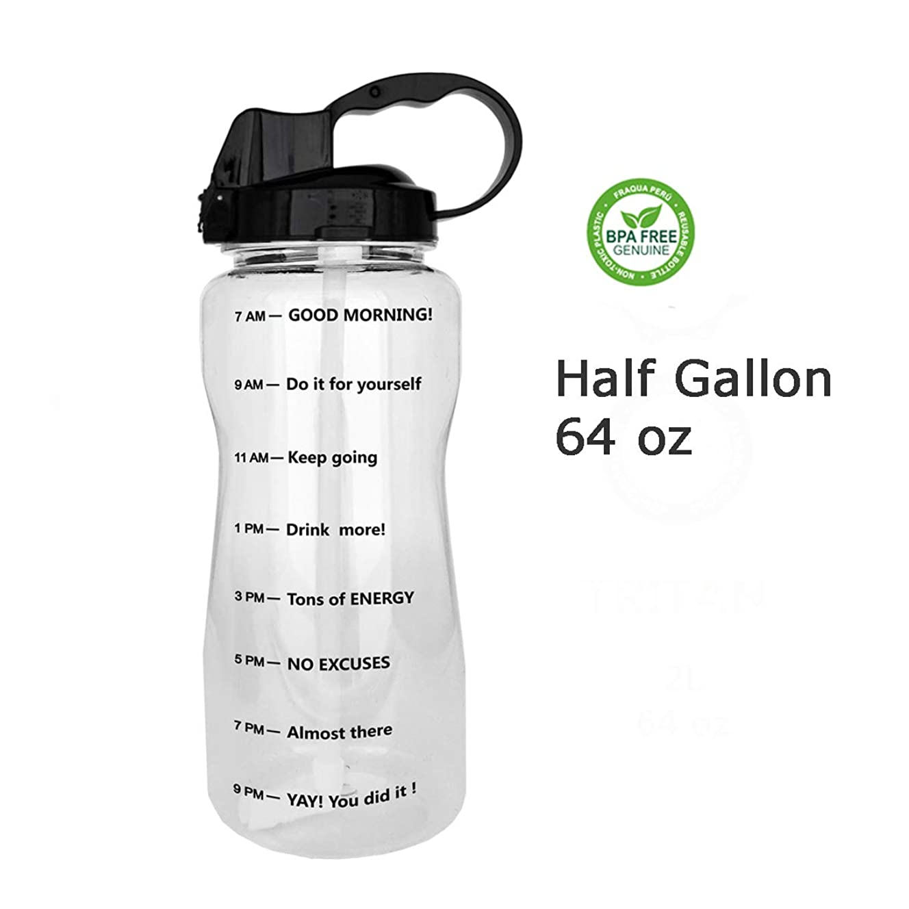 QuiFit Portable Drinking Straw Daily Water Bottle Sport Water Jug Gallon BPA Free Non Leak Design with Time Marked to Ensure You Drink Enough of Water Throughout The Day 64oz & 128oz