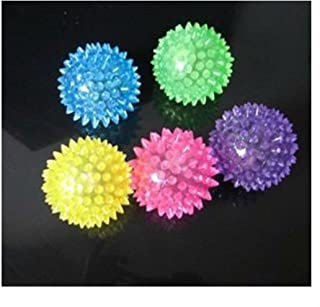 Science Purchase Light-up Flashing LED Spiky Squeaky Balls, Blinking Sensory Toys, 6 Pack - Colors May Vary (78BWLEDBALL6PK)