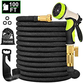 Toczim 100Ft Expandable Garden Hose with Connector & Nozzle