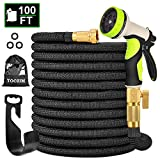 "5. TOCZIM 100ft New Expandable Garden Hose - Superior Strength 3750D, 4-Layers Latex with 3/4"" Solid Brass Connectors, 9 Function Spray Nozzle, Easy Storage Kink Free Flexible Lightweight Water Hose"