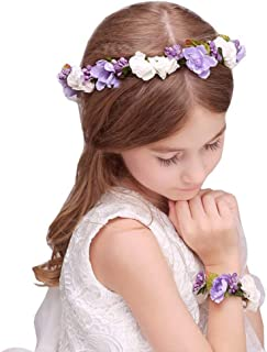 Flairs New York Flower Crown Headpiece Headband Corsages Bracelet Set (Lavender Purple/Pearl White)