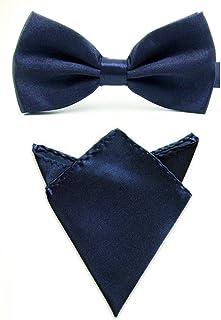 Men Satin Solid Color Pre-tied Tuxedo Bowtie Bow Tie Handkerchief Pocket Square Set (Dark Blue)