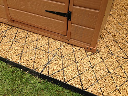 GARDEN SHED BASE GRID 8x8 = FULL ECO KIT 2.5m x 2.5m + HEAVY DUTY MEMBRANE PLASTIC ECO PAVING BASES & DRIVEWAY GRIDS