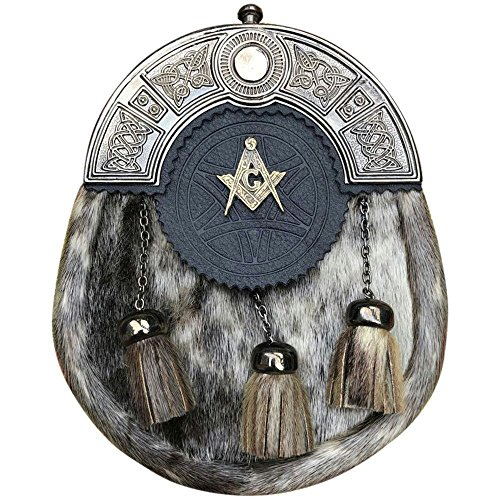 Men's Highland Scottish Full Dress Kilt Sporran Seal Skin Celtic Cantle Masonic Antique Finish
