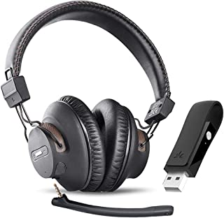 Avantree DG59M Wireless Gaming Headphones Set with Detachable Boom Mic and Bluetooth USB Audio Dongle for PS4, PC, Laptop,...