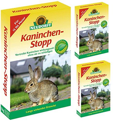 Neudorff Kaninchen-Stopp Gardopia Sparpakete + Zeckenzange mit Lupe (3 x 1 kg)