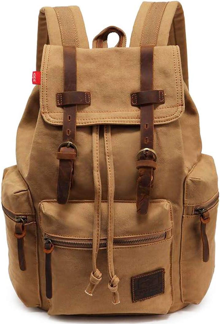 Vintage Canvas Backpack, HuaChen Mens Travel Leather Rucksack for Laptop Hiking School Bookbag (M32_Khaki_L)
