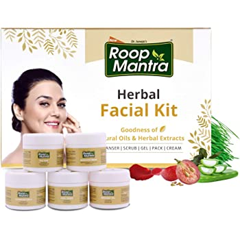 Roop Mantra Herbal Facial Kit For Glowing Skin 75gm, Oily Skin, Dry Skin, All Skin Types (Cleansing Milk, Face Scrub, Massage Gel, Face Pack, Nourishing Cream), 75 g