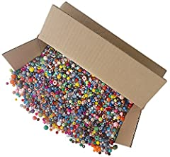 5lb. assortment of plastic craft beads Assorted Shapes and colors Made in the USA Perfect for group activities