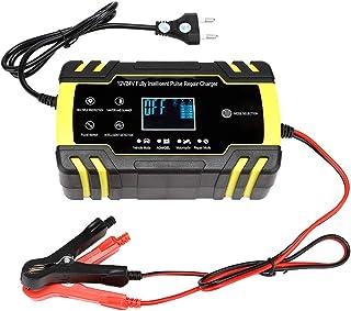 Auto-acculader, 12 V / 24 V Automatische Slimme Batterij Druppellader met Pulsreparatiefunctie, Draagbare LCD-batterijhoud...