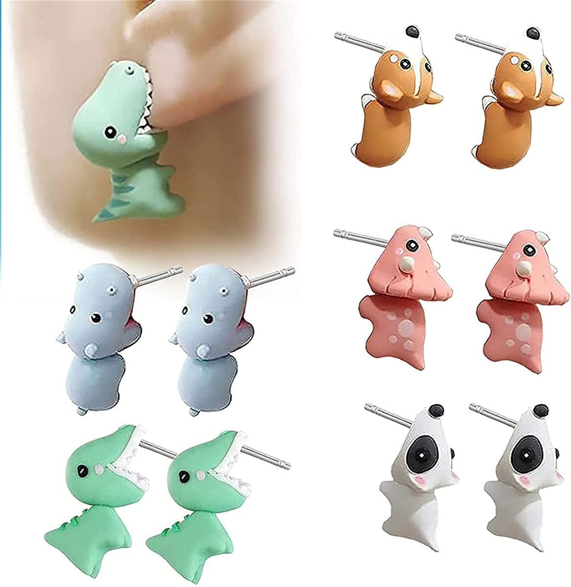 Cute Animal Bite Earring,3D Clay Earrings,Small and Exquisite for Easy Carrying and Collection.Fashion Simple Handmade Polymer Animal Stud Earrings. (T Rex Dinosaur)