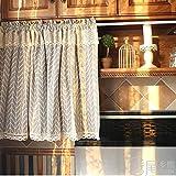 BATSDCB Rideau moitié idyllique méditerranéen, Coton Lin Rideaux Courts, Moitié Draperies, pour Le café-Restaurant Cuisine Porte de Placard évier-D 140x130cm(55x51inch)