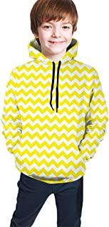 Yellow and White Zig Zag Kids/Teen Boys Girls Hoodies,3D Print Pullover Sweatshirts