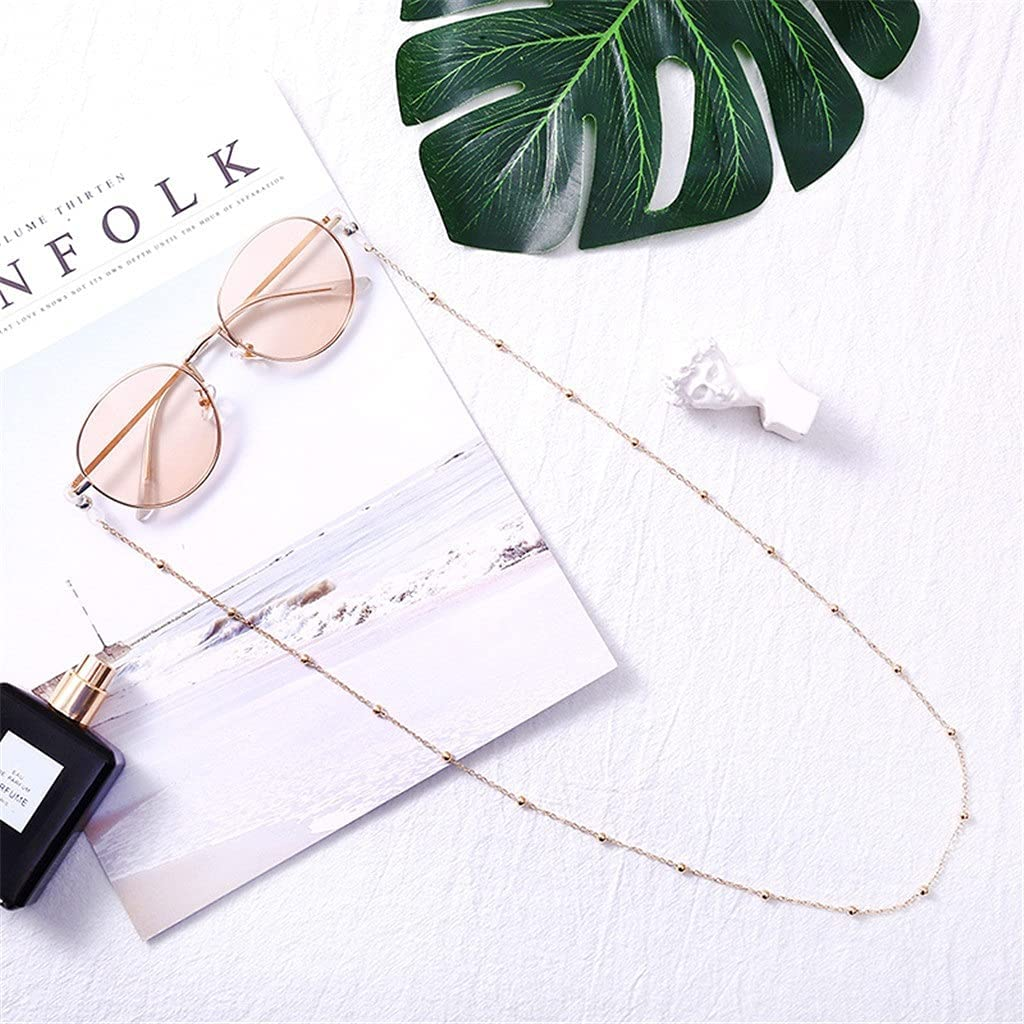 YFQHDD 2PCS Womens Chic Reading Beaded Glasses Chain Eyewear Cord Neck Strap Rope Eyeglass Chains Sunglasses (Color : A)