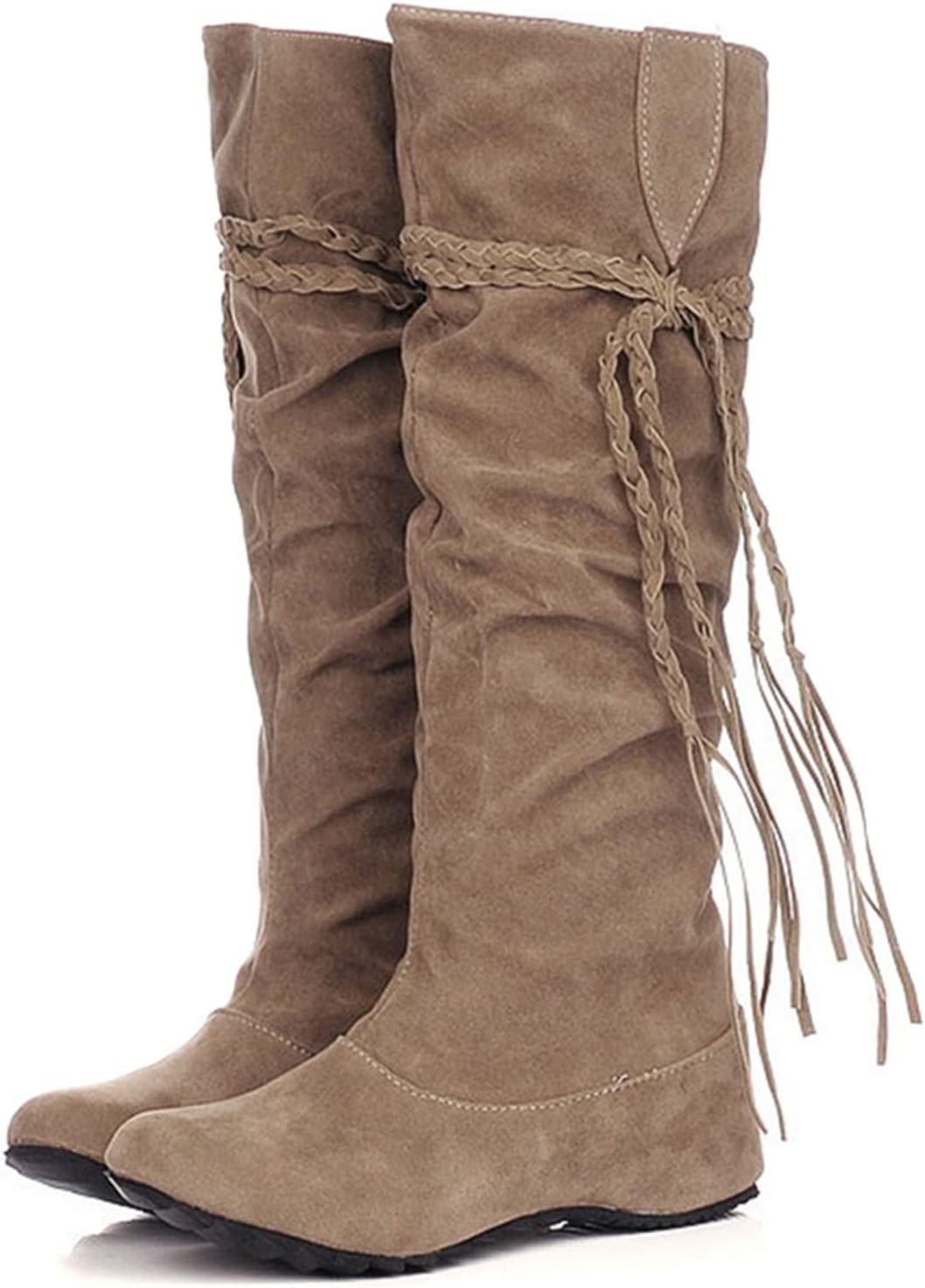 Tassel PU Leather Washington service Mall Suede Womens Shoes High Over In Boots The Knee