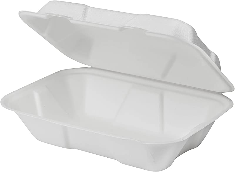 Karat Earth KE BHC96 1C 9 X 6 Bagasse Hinged Clamshell Container Pack Of 200