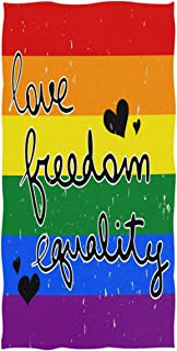 Wamika Love Freedom Equaltiy LGBTQ Hand Towels Ultra Soft Towel Rainbow Flag Gay Pride Absorbent Hand Towel Guest Bath Towels Washcloth Multipurpose for Hand Face Gym Spa 16