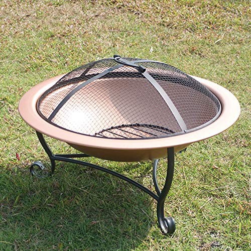 FMXYMC Outdoor Fire Pit Bowl, Round Fire Pit Wood Burning, Patio Firebowl with Spark Screen - 20 Inch Fire Bowl with Metal Tripod, Rose Gold Color
