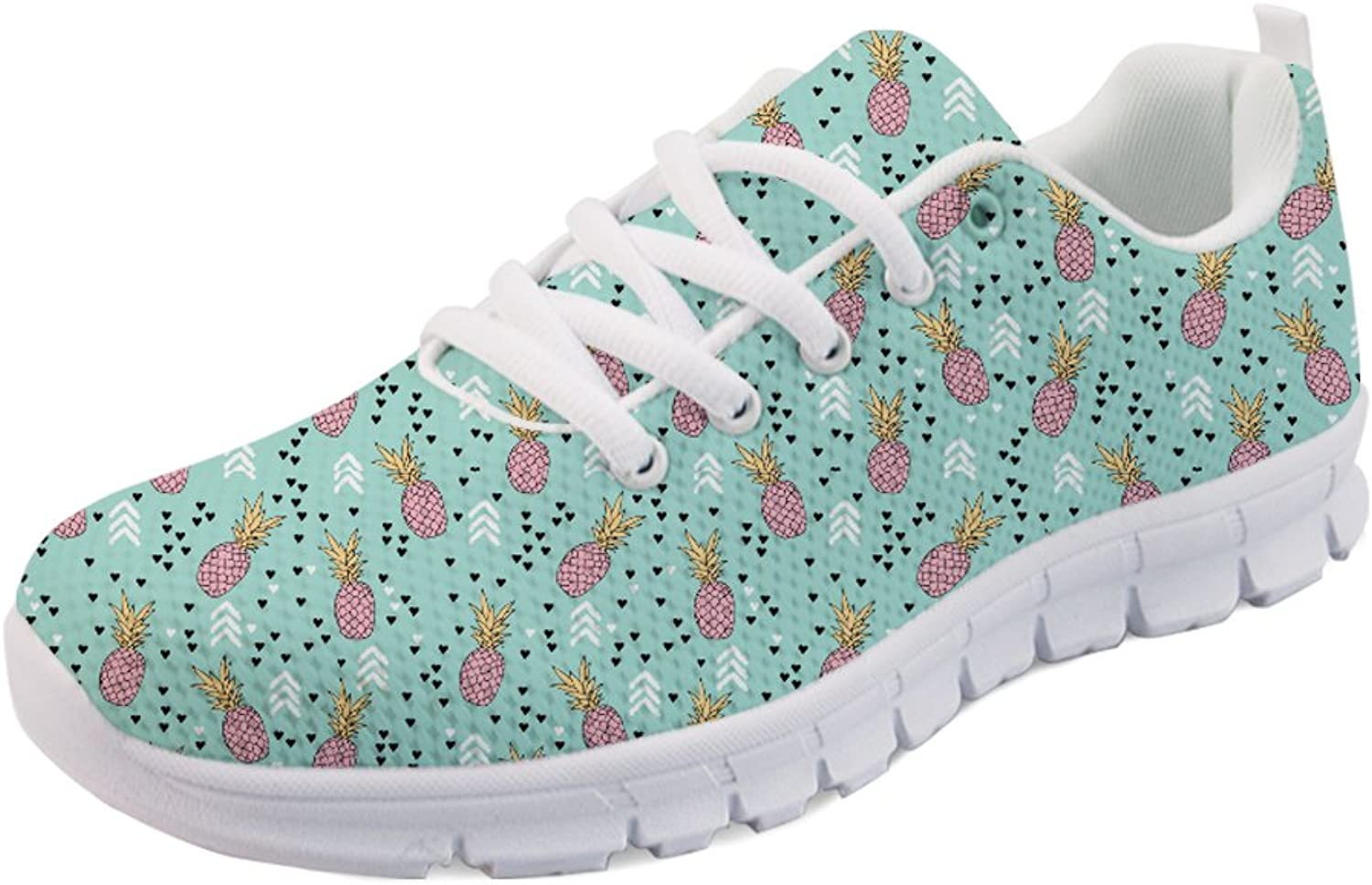 INSTANTARTS Pineapple Print Women's Athletic Sneaker Running Sport shoes Lace up