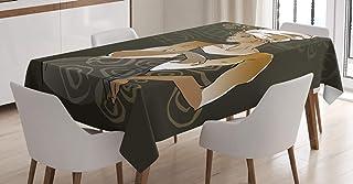 ABAKUHAUS Africain Nappe, Doodles, Linge de Table Rectangulaire pour Salle à Manger Décor de Cuisine, 140 cm x 200 cm, Bru...