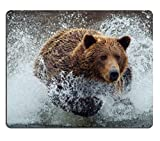 Bear River hunting.wildlife animals Mouse Pads Customized Made to Order Support Ready 9 7/8 Inch (250mm) X 7 7/8 Inch (200mm) X 1/16 Inch (2mm) High Quality Eco Friendly Cloth with Neoprene Rubber Liil Mouse Pad Desktop Mousepad Laptop Mousepads Comfortable Computer Mouse Mat Cute Gaming Mouse pad