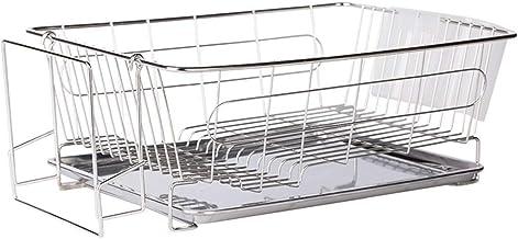 Tableware Storage, Drain Rack/Dish Drainer Drying Rack Multifunction Rustproof Kitchen Shelves Dish Rack Stainless Steel Removable s,Gray - 38.2;27;14.5CM