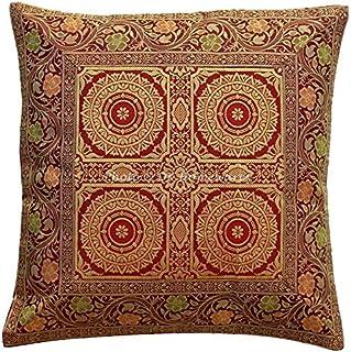 DK Homewares Traditionnel Jacquard Salon 16x16 Marron Brocart Housse de Coussin Mandala Floral Décoration de Maison Carré ...