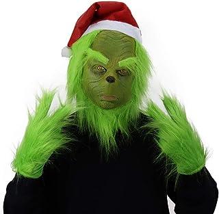 Mumaya Grinch Cosplay Gloves 1 Pair Christmas Furry Plush Green Gloves Cosplay Furry Gloves