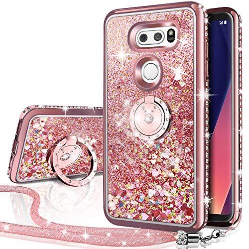 Miss Arts Cover LG V30, Custodia LG V30 Plus/V30S, [Silverback] Custodia Glitter di in TPU con Supporto, Pendenza Colore Diamond Rhinestone Liquido Cover Case per LG V30,LG V30 Plus/V30S -Oro Rosa