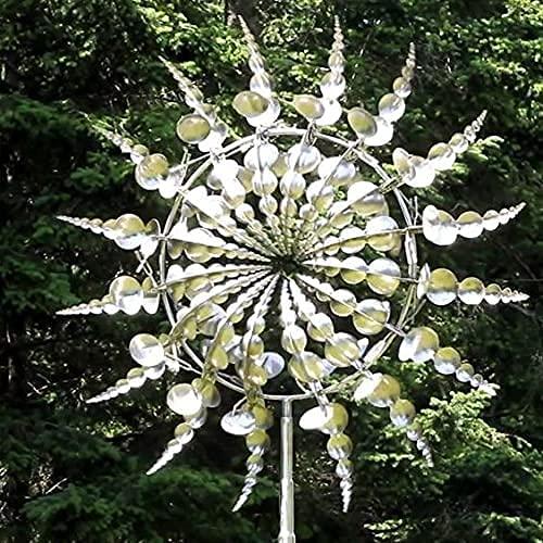 Yigenten Einzigartige und magische Metall-Windmühle - Skulpturen bewegen Sich mit dem Wind, Outdoor-Windfänger-Metall-Garten-Dekor, Solar-Wind-Spinner-Fänger für Terrassen-Rasen-Dekoration (2pcs)