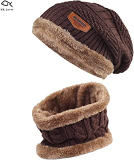 978f0dab3bf Lover Kids Winter Warm Hat and Scarf Knitted Hat with Soft Fleece Lined  Beanie