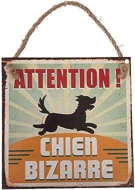 Plaque Décorative en Métal 20x20 cm – Attention Chien Bizarre