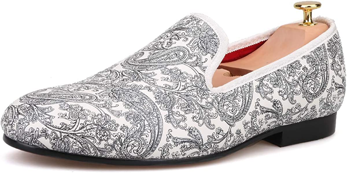 HIHANN Paisley Prints Men's White Slip-on Casual Loafer 品質保証 Shoes 当店一番人気 L