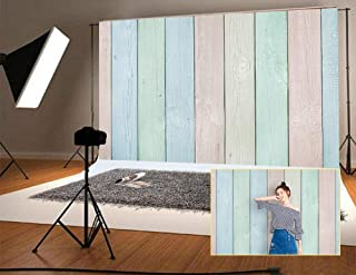 7ft(W) x5ft(H)(220x150cm) Multicolor Wood Wall Photography Backdrop Photo Studio Booth Prop Background Birthday Baby Show Decoration Backdrops for Picture