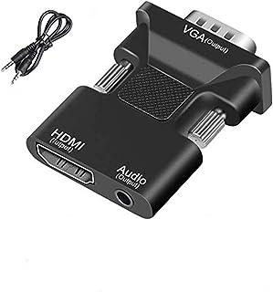 محول CMX HDMI إلى VGA ، كابل HDMI إلى VGA خرج صوت الكمبيوتر مجموعة مهايئ موصل محول مربع ، بما في ذلك كابل ستيريو 3.5 مم