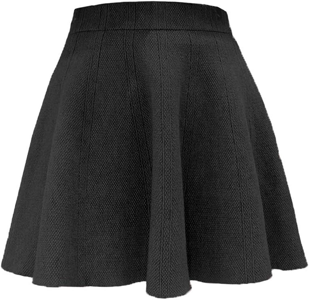 QiuDumo Womens High Waist Knit Mini Skirt Sweater Dress Winter Warm Basic Flared Casual Skirt