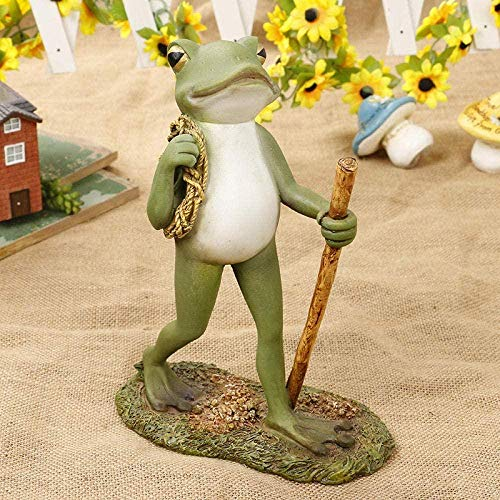 Sculptures Decoration,Table Living Room Kitchen Home Office Anniversary Present Figurine Ornament Accessories Beautifull Walking Mr Frog Resin Ative Fishing Frog For Home Office Desk Garden Ornament