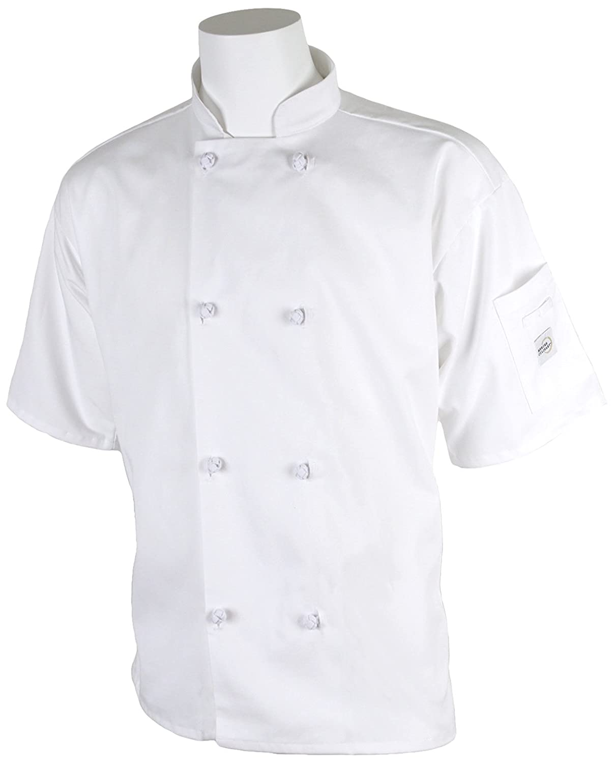 Mercer Culinary M60014WHM Millennia Men's Short Sleeve Cook Jacket with Cloth Knot Buttons, Medium, White