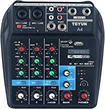 Mini Console Audio a 3 canali Console di missaggio Mixer Audio Digitale 3 ingressi RCA e Mixer Stereo con Uscita Stereo 1RCA Mini Audio Tihebeyan Mixer Microfono per Karaoke Portatile EU