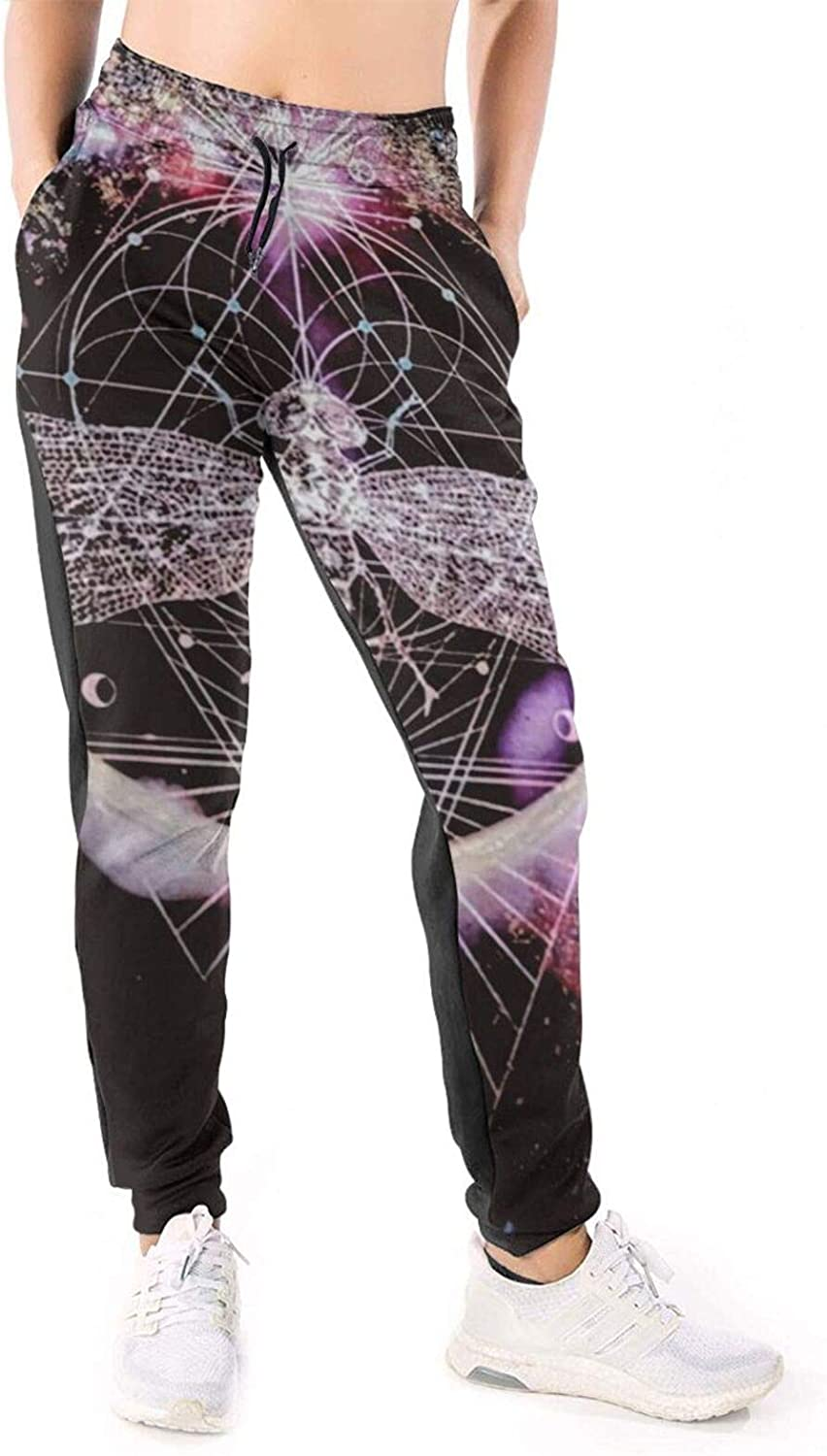 Women Joggers Pants Galaxy Dragonfly Geometric Rainbow Animal Athletic Sweatpants with Pockets Casual Trousers Baggy