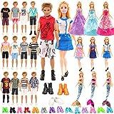 Miunana 19 Pezzi per Barbie (3 Abiti alla Moda + 3 Abiti da Sposa + 3 Abiti da Sirena + 10 Paie di Scarpe) + 9 Pezzi per Ken (6 Vestiti + 3 Pezzi di Scarpe) Prodotto Esclude Bambola