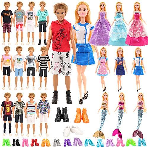 Miunana 28 Kleidung Zubehör für Puppen = 6 Bekleidung + 3 Schuhe für Jungen Puppen + 3 Kleider + 3 Abendkleider +3 Meerjungfrau Badeanzug + 10 High Heels für 11,5 Zoll Mädchen Puppen