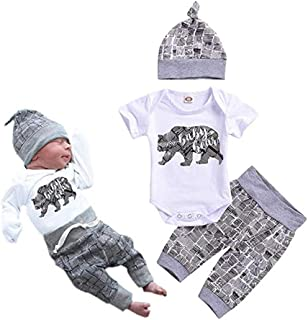 Newborn Baby Boy Clothes Baby Bear Letter Print Romper+Long Pants+Hat 3PCS Outfits Set