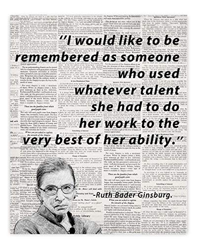Ruth Bader Ginsburg - Work to the very best of ability Motivational Dictionary Wall Art Prints Home Studio Office Décor. Great Motivational & Inspirational Gift 8 X10 – UNFRAMED