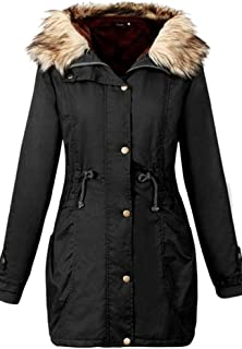 Youtobin Women's Slim Winter Faux Fur Hooded Coat Thick Cotton-Padded Clothes