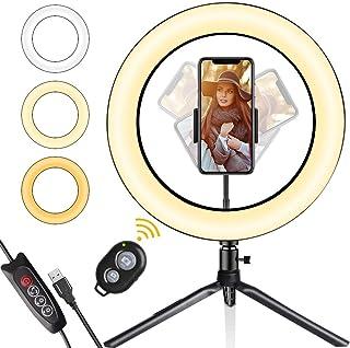 LED-ringlampa, Gadom 10,2 tum dimbar ringlampa med stativstativ och telefonhållare, 3 färger och 10 ljusstyrka selfie-ring...