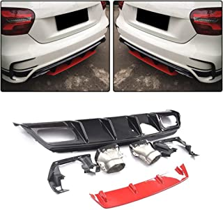 JC SPORTLINE W176 Rear Diffuser with Tips, fits Mercedes Benz A Class W176 A45 AMG A180 A200 Sport Hatchback 2013-2018 ABS Rear Lip Diffuser Spoiler with Muffler(ABS Red-A)